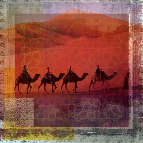 Arabische schilderij Herd Of Camels Oranje