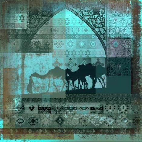 Arabische schilderij Camels turquoise