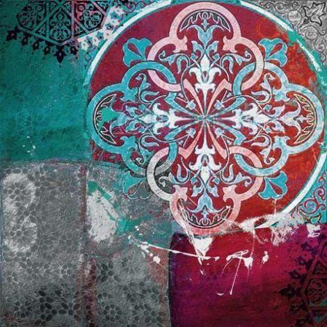 Aziatische Schilderij Mandala Rood Terquoise