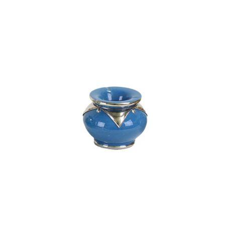 Marokkaanse Asbak met metaal Lichtblauw Ø 12 x 9cm