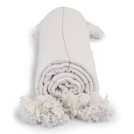 Marokkaanse Deken Wit met Goud Pompom Inara