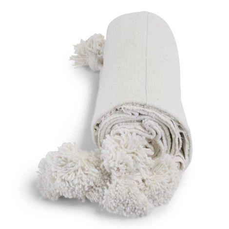 Marokkaanse Deken Wit met Zilver Pompom Alina