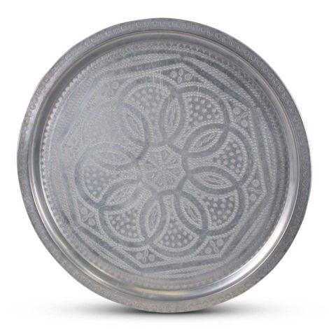 Marokkaanse Dienblad Mat Zilver Vintage Ø 54 x 2cm