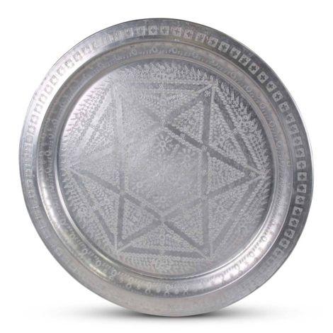 Marokkaanse Dienblad Mat Zilver Vintage Ster Ø 58 x 4cm