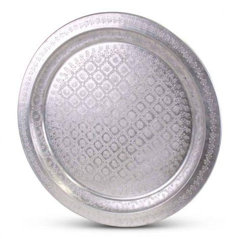 Marokkaanse Dienblad Zilver Ø 58cm Vintage Yahya