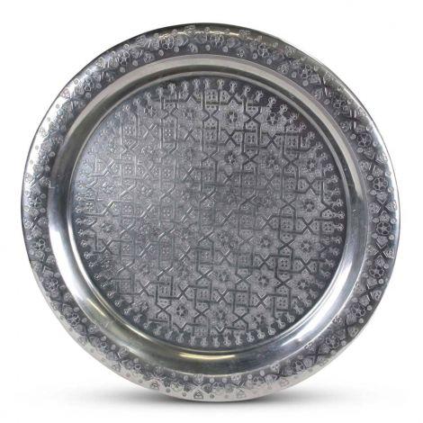 Marokkaanse Dienblad Zilver Vintage Ø 58 x 4cm
