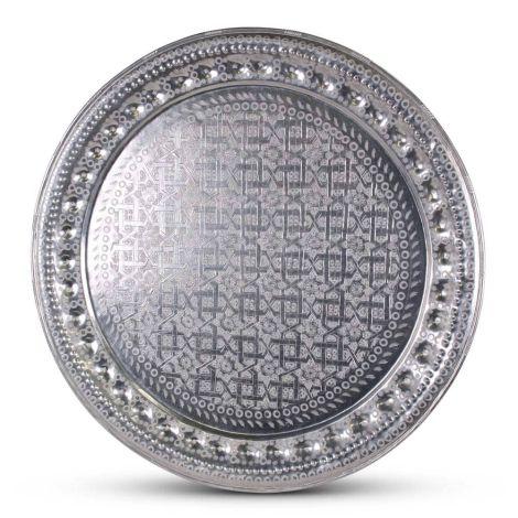 Marokkaanse Dienblad Zilver Vintage Ø 77 x 4cm