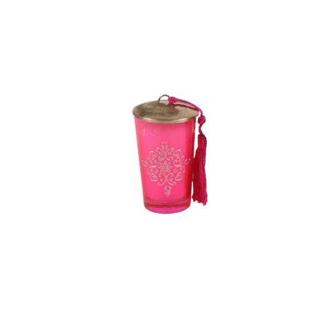 Marokkaanse Geurkaars Glas Roze-Zilver Ø 6 x 9cm