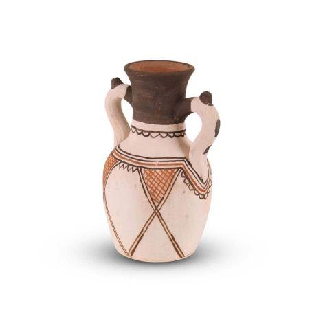 Marokkaanse Kruik Berber Wit-Bruin Ø 14 x 24cm