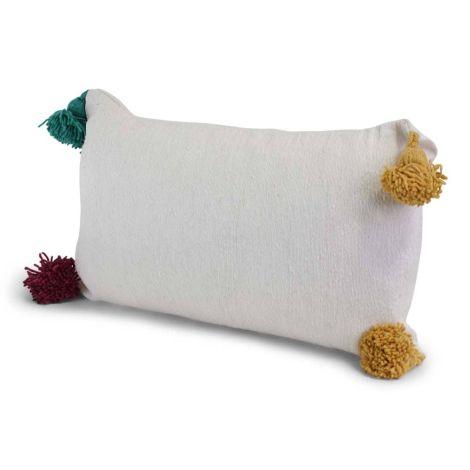 Marokkaanse Kussen Wit met Gekleurde Pom-Pom