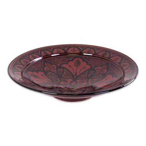 Marokkaanse Schaal met Motief Rood Ø 35cm x 9cm