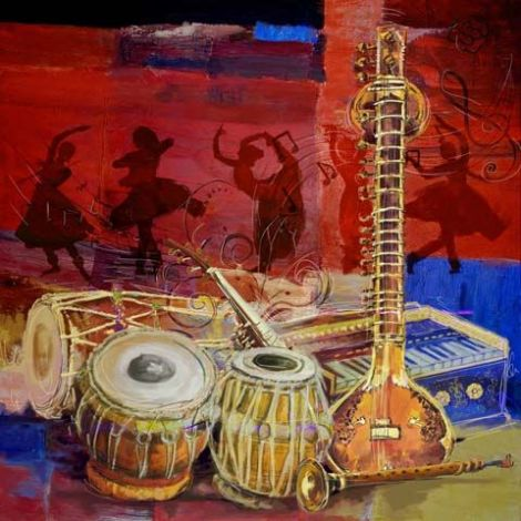 Marokkaanse Schilderij Instruments Rood
