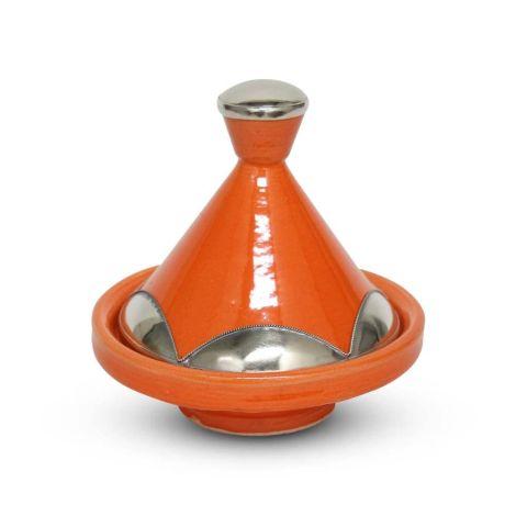 Marokkaanse Tajine mini Oranje Metaal Ø 13 x 14cm