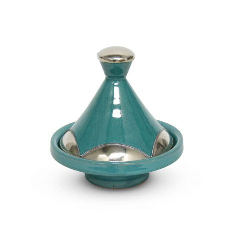 Marokkaanse Tajine mini Turquoise Metaal Ø 13 x 14cm