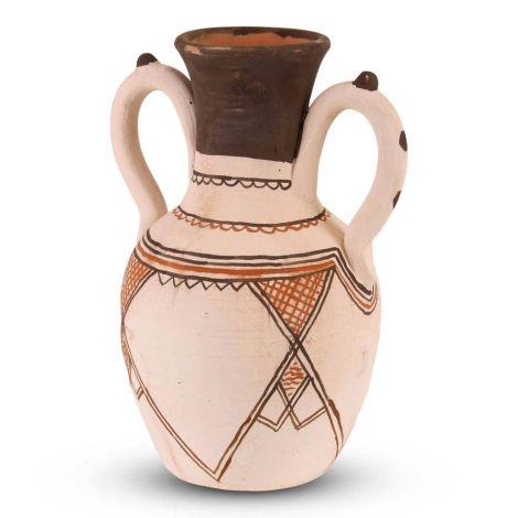 Marokkaanse Vaas Berber Wit-Bruin Ø 18 x 30cm
