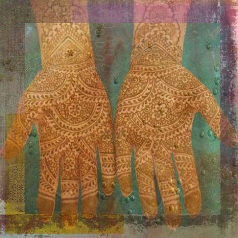 Oosters schilderij Mehndi hands Anda Groen