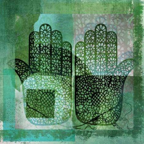 Oosters schilderij Mehndi hands Dai Groen