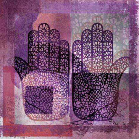 Oosters schilderij Mehndi hands Dai Paars