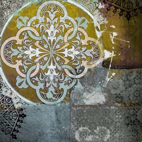 Oosterse Schilderij Mandala Mintgroen Bruin
