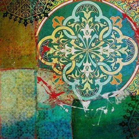 Oosterse Schilderij Mandala Groen Blauw