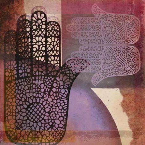Oosterse schilderij Mehndi hands Malay Lila