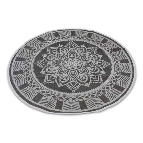 Oosterse Vloerkleed Mandala Donkergrijs Ø 110cm