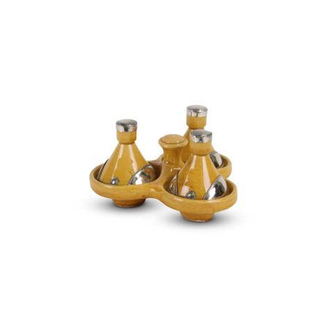 Tajine mini Geel met Metaal 3-delig