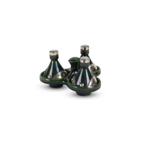 Tajine mini Groen met Metaal 3-delig