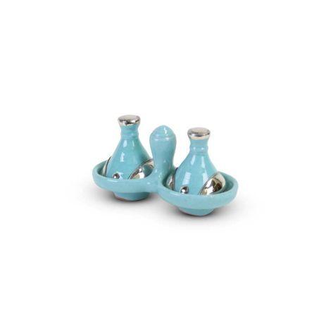 Tajine mini Lichtblauw met Metaal 2-delig