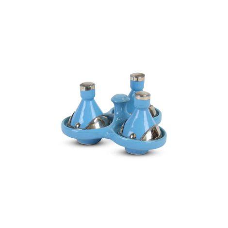Tajine mini Lichtblauw met Metaal 3-delig