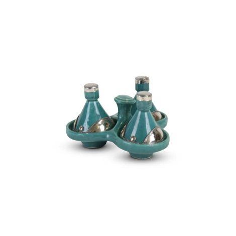 Tajine mini Turquoise met Metaal 3-delig