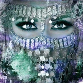 Arabisch schilderij Arabische vrouw blauw