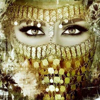Arabisch schilderij Arabische vrouw goud
