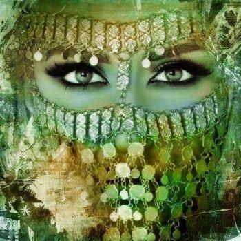 Arabisch schilderij Arabische vrouw groen