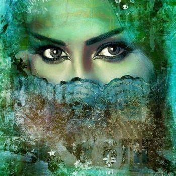 Arabisch schilderij Beautiful Lina Turquoise