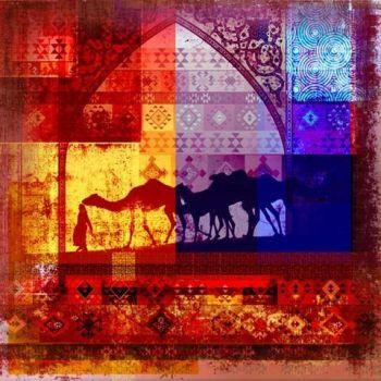 Arabisch schilderij Camels Geel