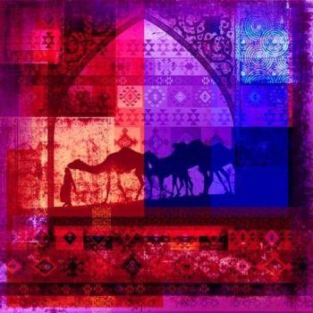Arabisch schilderij Camels Rood