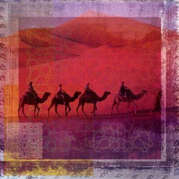 Arabisch schilderij Herd of Camels Rood