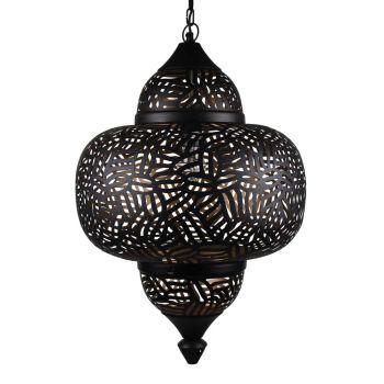 Arabische Hanglamp Zebra Amira Zwart Goud Ø 42 x 63cm