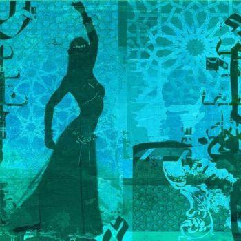 Arabische Schilderij Buikdanseres Blauw