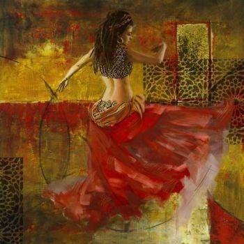 Arabische Schilderij Buikdanseres Rood Goud