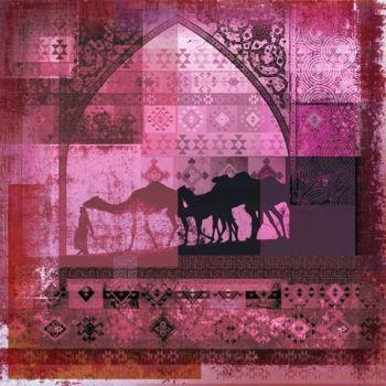 Arabische schilderij Camels Roze