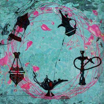 Arabische schilderij Oriëntaalse Mix Turquoise
