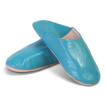Marokkaanse Babouche Leer Lichtblauw