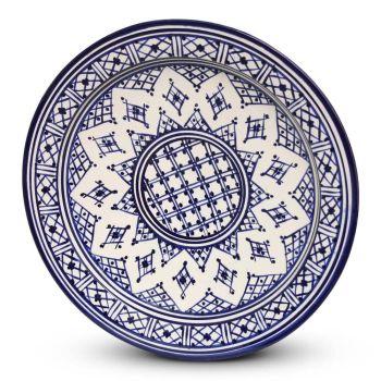 Marokkaanse Bord Blauw Zerbia Ø 35 x 5cm
