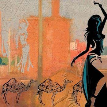 Marokkaanse Schilderij Belly dance Marrakesh