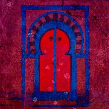 Marokkaanse Schilderij Poort Fuchsia Roze