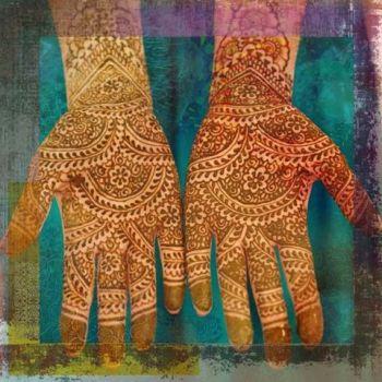 Oosters schilderij Mehndi hands Anda Blauw