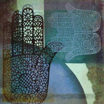 Oosterse schilderij Mehndi hands Malay Blauw