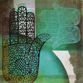 Oosters schilderij Mehndi hands Malay turquoise